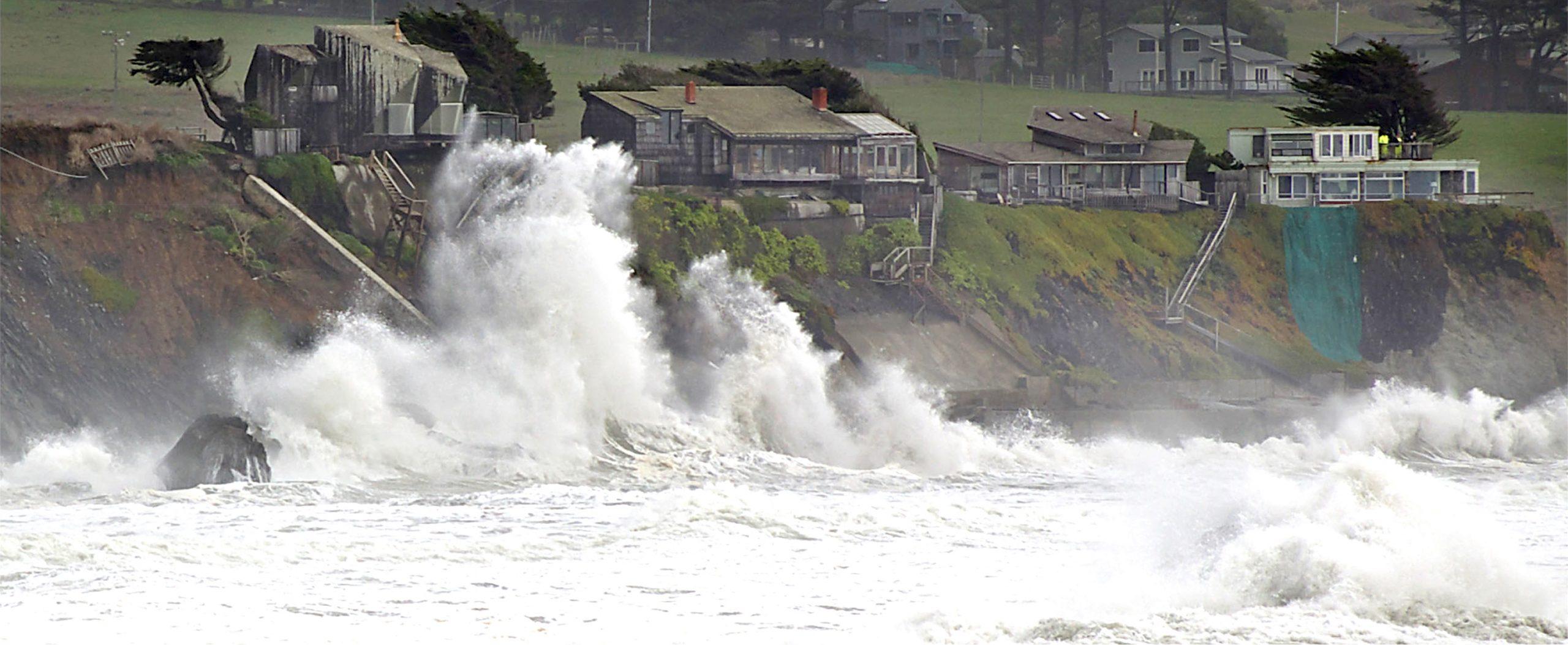 Photo of storm battering coast.