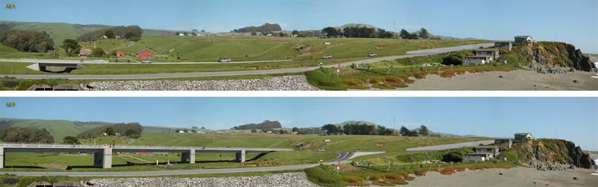 Before and after 3D visualization of proposed bridge.