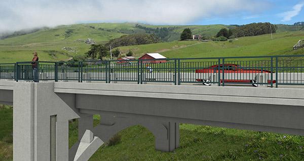 3D visualization of proposed bridge railing and pedestrian access.