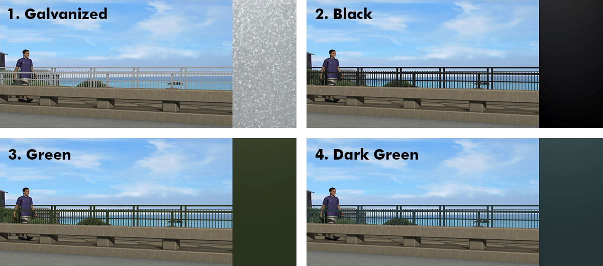 Visualizations showing four railing color options.